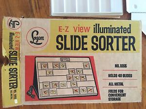 Logan E-Z View 1055 Folding Illuminated Slide Sorter 40 Slides Vintage Light Box
