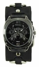 Nemesis Silver Dragon King of Skulls Watch w/ Faded Black Ring Leather Cuff Band