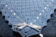 Christening Baby Blanket  All Soft BLUE  Handmade Crochet  BOYS New WHITE RIBBON