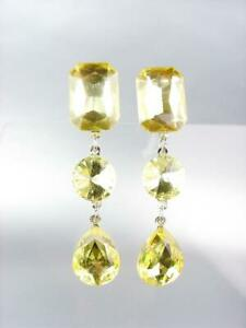 GLITZY Yellow Faceted Crystals Chandelier Drippy Earrings PAGEANT PROM QUEEN EYR