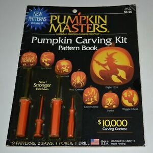 Vintage Halloween Pumpkin Masters Carving Kit 4 Tools 10 Patterns New 1998