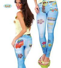 LEGGINS HIPPIE Pantaloni Elasticizzati Donna Carnevale Figlia dei Fiori nuovo