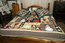 """Vtg? Holiday Patchwork Quilt Queen Christmas Bedspread 104"""" x 86"""" With 3 Shams"""