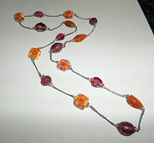 """36"""" LONG ORANGE LAMPWORK HANDMADE GLASS BEAD AND CHAIN NECKLACE BD"""