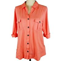 Style & Co Top Womens Size XL Coral Elbow Roll Tab Sleeve Collared Button Up