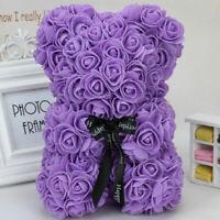 25cm/40cm Rose Teddy Bear w/Heart Flower Gift For Girlfriend Birthday Wedding CY