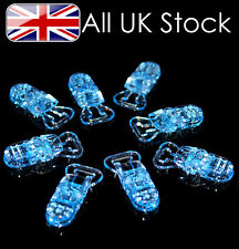 Pack of 10 Plastic dummy clips, dummy chain , strap, pacifier ~ Blue