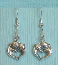 earrings .925 Sterling Silver hooks Handcrafted Love Pig Pigs form Heart pierced