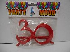 OCCHIALI SAGOMA 30 Rossi - Accessorio Gadget idea regalo festa 30° Compleanno