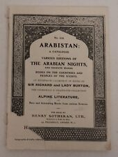 1930 Arabistan catalog ARABIAN NIGHTS Henry SOTHERAN BURTON Alpine Literature