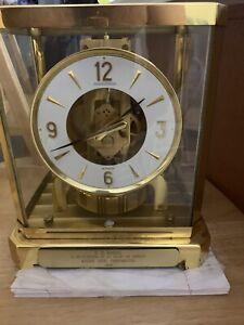 RARE Vintage Jaeger LeCoultre & Cie Swiss Atmos 15 Jewel VXN Gold Mantle Clock