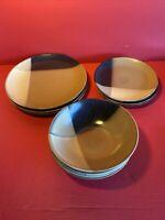"""Set of Sango Gold Dust Black 4) 7 ¾"""" Cereal Soup Bowls 4) Salad 3) Dinner Plates"""