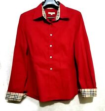 Burberry London red shirt with plaid check trim