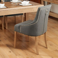 Baumhaus Oak Accent Upholstered Fabric Dining Chairs in Slate (Pack Of Two)
