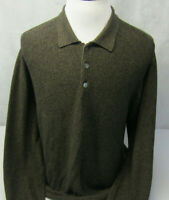 Greg Norman Shark L/S Polo Style Brown Knit Cotton Collared Golf Sweater Mens M