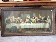 More details for antique large print of the last supper in an antique wooden frame