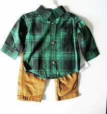 Carter's Baby Boys 2 pc Plaid Long Sleeve Shirt & Corduroy Pants Sz NB - NWT
