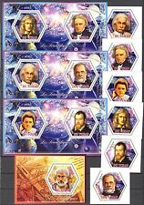Chad 2014 Famous Scientists Einstein Curie set of 6 + 4 S/S MNH**