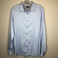 Ted Baker London Mens Luxury Button Front Shirt Flip Cuffs Size 4 US 40 L Blue