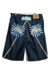 "VTG Evisu Heritage Men's Denim Jeans Shorts sz 36 Button Fly 13"" Inseam"