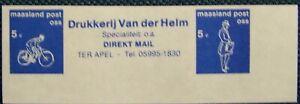 Stadspost Oss 1990 - Strip Fiets, Reklame, Postbode, ongetand - blauw