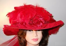 Red Hat Ladies - All Red Victorian Hat w/Red Silk Roses & Long Tulle Train