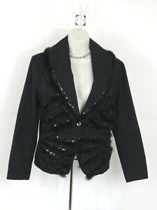 Womens Black Jacket Blazer Size S Nanweena Faux Fur, One Button