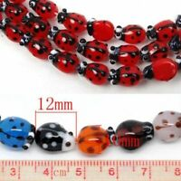 20Pcs Unique Ladybug Glass Lampwork Spacers Bead DIY Jewelry Making Acceessories