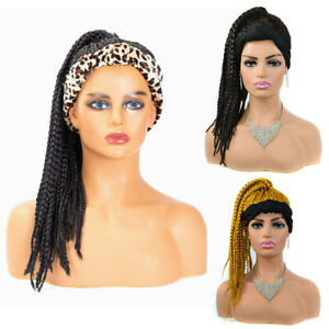 Synthetic Box Braids Wrap Wigs w/ Ponytail for Women Turban Knotted Headband Wig