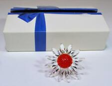 Nib Swarovski Crystal Red Marguerite Daisy Flower Figurine Cake Topper