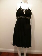 NEW ALBERTO MAKALI JEWELED EMPIRE WAIST SLEEVELESS BLACK DRESS SIZE 12