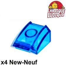 Lego 4x Slope curved pente courbe 2x2 lip bleu transparent trans blue 30602 NEUF