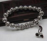 Pure 925 Sterling Silver Bracelet 8mm Bless Six-words Beads Lucky Bracelet