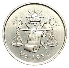 1952 MO Silver Mexico 🇲🇽 25 Centavos Coin - Mexico City Mint Uncirculated+