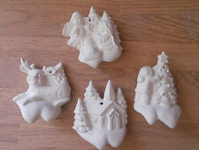 C-0962 Set of (4) Christmas scenes on Snow Drifts Ornaments Ceramic Bisque