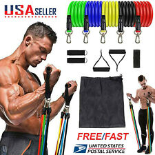 11pcs Resistance Bands Set For Home Gym Workout Heavy Tube Crossfit Exercise US