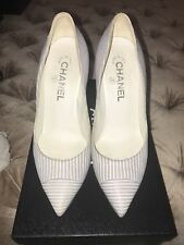 Chanel blue And white Striped 4 Inch Heels 37.5 7.5
