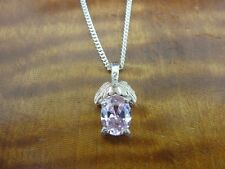 WM Black Hills Silver Pink Stone 12K Gold Sterling 925 Petite Pendant Necklace