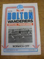 11/03/1980 Bolton Wanderers v Norwich City  (Light Crease, Fold)