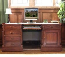 La Roque solid mahogany furniture large office twin pedestal computer desk