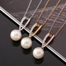 18k Yellow/Rose/WhiteGold Filled GF Waterdrop CZ Pearl Pendant Necklace N564