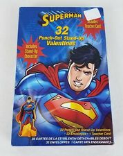 Superman Valentines Day Cards Punch Out Stand Up Box of 32 with Teacher Card New