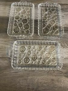 Vintage Anchor Glass snack trays Bubble Polka Dot Set Of 3.              Box A1