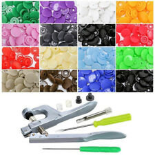 150Pcs/Set Plastic Snaps Hand Held Pliers Tool Kit with Buttons 15 Colors T5