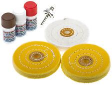 Polierset 7-tlg. Polierscheiben 100 mm Polierpaste Alu Felgen polieren Aluminium