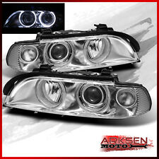 Fits 1997-2003 BMW E39 5-Series Angel Eye Halo Projector Headlights Pair Lamp