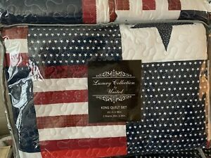 Americana Red, White & Blue King Quilt Set - New With Tags