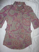 Fat Face grey long shirt pink flowers, three quarter sleeve. Size 8