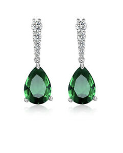 White gold finish Green Emerald And Created diamond Pear cut Droplet earrings