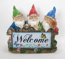 """Gnome Trio Welcome Sign Solar Lighted 11.5"""" L x 10"""" H Garden Figurines"""